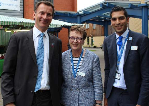 Health Secretary Jeremy Hunt visits Queen's Hospital in Romford