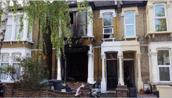 Fire created by lithium battery left on charge causes aerosol cans to explode, destroying house in Walthamstow